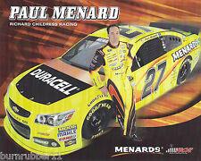 "2013 PAUL MENARD ""MENARDS DURACELL"" #27 RCR NASCAR SPRINT CUP SERIES POSTCARD"
