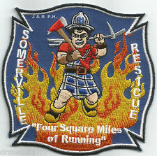 "Somerville  Rescue-1  ""4 Square Miles of Running"", MA (4"" x 4"" size) fire patch"