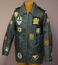 1970s MOD SCOOTER PARKA HOODED JACKET COVERED IN PATCHES OF THE WORLD SIZE L