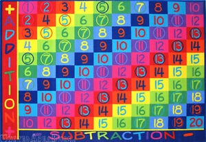 5x8 Area Rug Educational Kids Addition Math Subtraction Plus School Teach Time