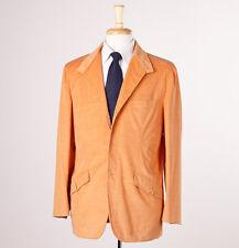 NWT $1975 BELVEST Tangerine Orange Cotton-Cashmere Sport Coat 42 R Cord Blazer