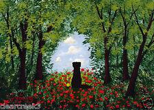 Black LAB Dog Labrador Retriever LARGE Folk Art PRINT Todd Young THE CLEARING