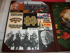 NOTRE DAME SORIN MENU DOUBLE SIDED FROM THE MORRIS INN - HELMET/COLLAGE