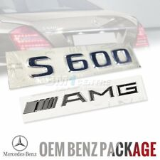 GENUINE OEM MERCEDES BENZ S600 AMG SET CHROME REAR BOOT EMBLEM BADGE GERMANY