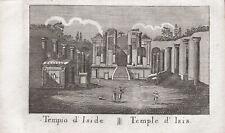 TEMPIO DI ISIDE POMPEI - Incisione Originale Mariano Vasi 1821 Isis Pompeii