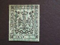 MODENA 1852 5 c. DOPPIO FILETTO DIVISORIO ORIZZONTALE IN BASSO,RARO,usato, Un.1n
