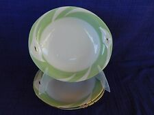 Adam & Eve Green & White SOUP BOWL (1 of 3) White embossed flowers w/gold center