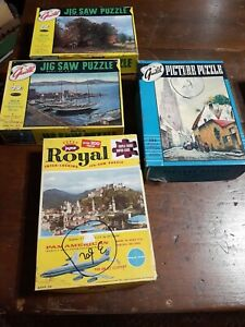 4 Vintage Guild And Jaymar Puzzles Pan Am -Wharf -Village- Homeward Bound