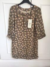 River Island Supreme Beige Black Heart Mod Smock Collarless Dress Sz 6 60s LOOK