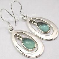 """4.2 tcw Earrings Jewelry ! 925 Solid Silver APATITE DROP Earrings 1.7"""" 6.7 Grams"""