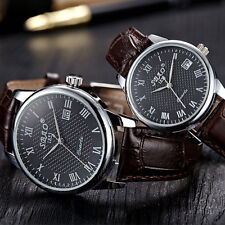 1Pair Fashion Business Mens Womens Couple Leather Quartz Date Casual Wrist Watch