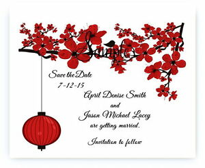 100 Personalized Custom Red Cherry Blossom Lantern Wedding Save The Date Cards