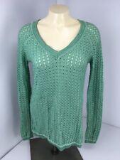 BCBG MAXAZRIA  Sz XS Crochet Mint Green High Low Oversized Tunic Sweater EUC TOP