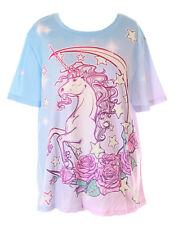 T-73 Blu Brillante Lilla Luna Rose Einhorn Fantasia Magic T-Shirt Pastel Goth