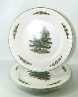 "Set of 3 Christmas Village 10 1/2"" Holiday Tree Dinner Plates Green Trim Swirl"
