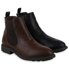 Herren Stiefeletten Chelsea Boots Leder-Optik Booties Profilsohle 825525 Schuhe