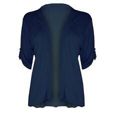 Womens Ladies Button Short Turn Up Sleeves Boyfriend Open Waterfall Cardigan Top