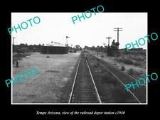OLD POSTCARD SIZE PHOTO OF TEMPE ARIZONA THE RAILROAD DEPOT STATION c1940