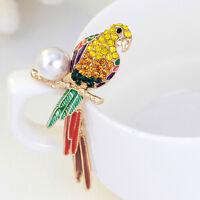 Crystal Rhinestone Bird Brooch Pins For Women Gift Enamel Parakeet Brooch Pins