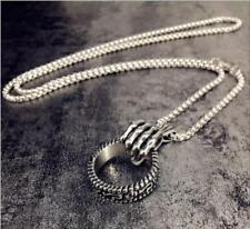 Skull Hand Held with Loop Ring Stainless Steel Punk Biker Men Charm Necklace