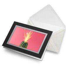 Greetings Card (Black) - Cool Sparkler Pineapple Birthday Gift #3845