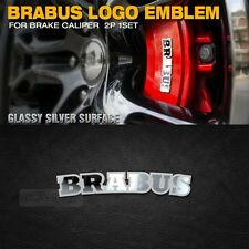 BRABUS Brake Caliper Logo Emblem Glassy Silver Chrome 2p for All Car Vehicle