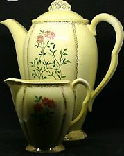 Carlton Ware Prestigious Coffee jug and Creamer Gold Signed M Russell Dated 1947