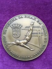 Beautiful antique bronze medal, 1969 inauguration of the F.N.A.T. swimming pool