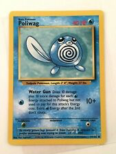 Poliwag - No. 59/102 Base Set WOTC TCG Card , Miscut Error Vtg - Pokemon 1999