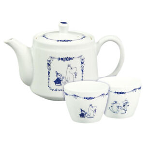 Moomin Blue Country Series Pot with Pair Cups Japan Porcelain