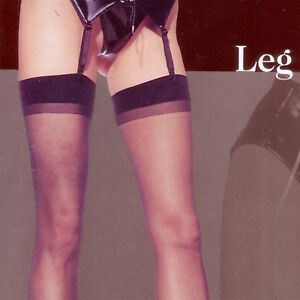 CLASSIC SHEER THIGH HIGH STOCKINGS IN  BLACK WHITE NUDE & RED BY LEG AVENUE