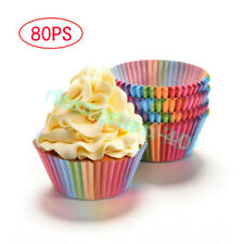 80ps Disposable Colorful Paper Cupcake Cases Muffin Baking Cake Cup Party Decor