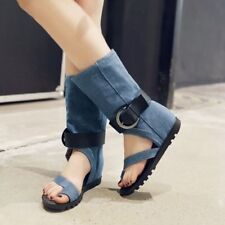 c201444bd08 Fashion New Buckle Clip Toe Wedge Heel Mid Calf Sandals Boots Casual Shoes  Hot