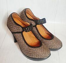 BERNIE MEV Claire Weave Platform Heel Gold Slide Cross Strap Sz-7/7.5 Pump Shoe
