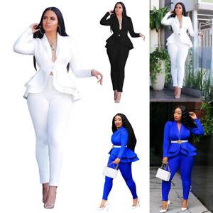 2Pcs/set Womens Ruffle Suit Blazer Set Office Formal Business Work Jacket Pants