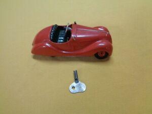Vintage Tin Wind Up Schuco Akustico 2002 Car, Germany Post War W/Key