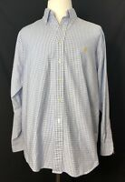 Brooks Brothers 1818 Blue White Plaid 100% Supima Cotton Men Shirt Sz Large EUC