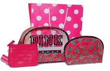 Victoria's Secret NWT Signature Bag Trio Color Pink Clear w/ Animal Print Hearts