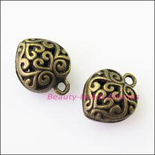 5Pcs Antiqued Bronze Tone Heart Flower Charms Pendants 13x16mm