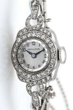 Vintage 1950s $5000 1ct VS H Diamond HAMILTON Platinum Ladies Watch WTY