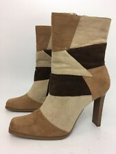WOMENS ATTITUDE BROWN TONES FAUX SUEDE SIDE ZIP HIGH HEEL HIGH ANKLE BOOTS UK 7