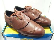 Niblick Greg Norman Mens Golf Shoes Golfing Leather Size 10.5 Tan Lace Up Spikes