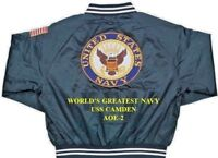 "USS CAMDEN  AOE-2  NAVY ANCHOR "" EMBROIDERED 2-SIDED SATIN JACKET"
