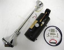 """Chrome 150 DB Trumpet LOUD Train Air Horn Kit 27"""" + 150 PSI Black Air Compressor"""