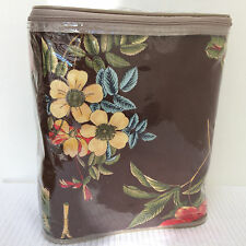 Rose Tree DRAPES *QUEENSLAND* Lined Pole Top Panels FLORAL Brown/Red 48x86 NEW