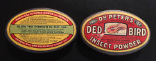 """1930's Rare Dr Peters DED BIRD Insect Powder Box """"Still Full"""" Superb Graphics!!"""