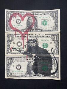 Banksy Original Spray $1 Dollar Bill's Dismaland Signed Stamped W/COA- Love Rat