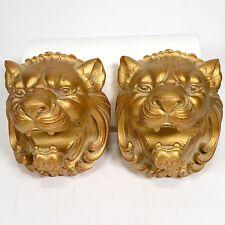 Vintage Gold Lion Curtain Rod Holder Pair
