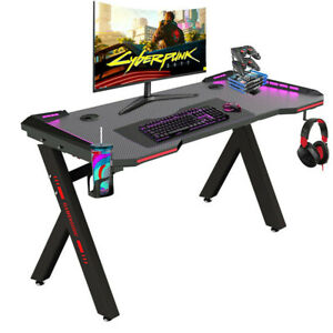 Adjustable LED Gaming Desk Computer Table w/Cup Holder Headphone Hook Cable Hole