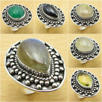 925 Silver Plated GREEN ONYX & Other Gemstones Ring ! VINTAGE STYLE Jewelry NEW